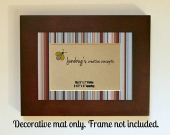 Boys Nursery Decor Frame Mat for 4x6 5x7 Pictures Blue Brown Stripes