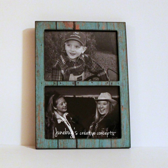 Double 4x6 or 5x7 2 Photo Frame Weathered Turquoise Paint ~ Rustic ...