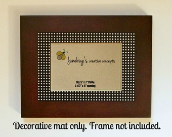 Mat for 5x7 8x10 Picture Frame Black White Polka Dots