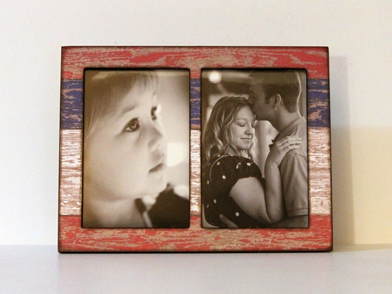 Double 4x6 Or 5x7 Red White Blue Rustic Wood Photo Frame 2 Etsy