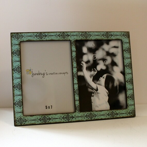 Double 4x6 Or 5x7 2 Photo Picture Frame Turquoise Black Scroll Etsy