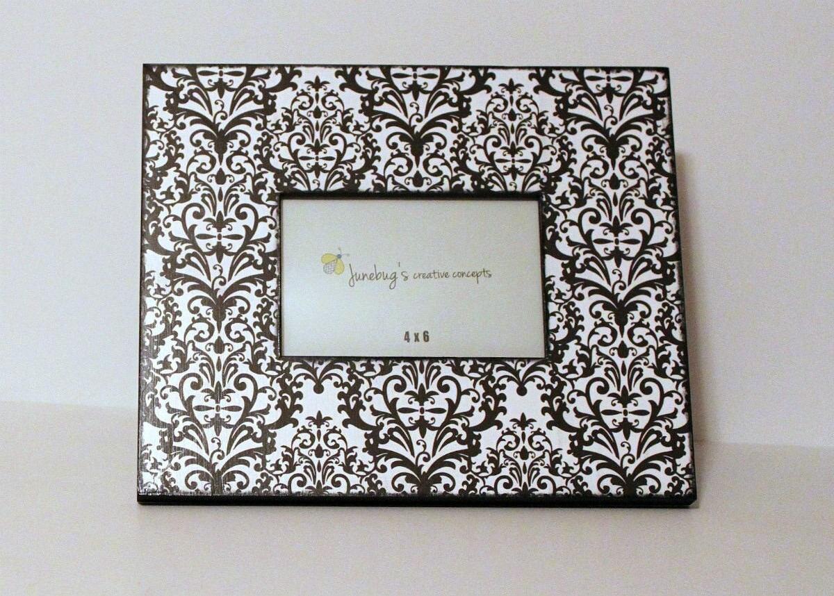 Foto de madera de 4 x 6 marco Damasco blanco y negro - blanco y ...