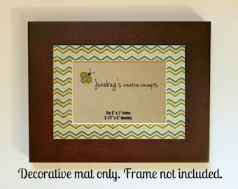 Picture Frame Mat fits 5x7 or 4x6 Photos Teal Yellow Zig Zag Chevron