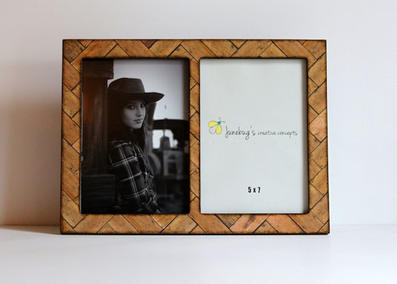 Double 4x6 Or 5x7 Wood Picture Frame Double Frame Honey Stain Etsy