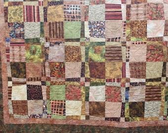 Lap Quilt - Safari Quilt - Scrappy Jungle Prints - Handmade Quilt- Long Arm Quilted