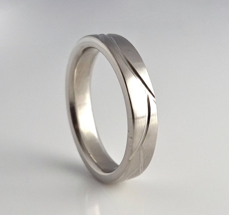 6mm Fresh Tracks Band Handcrafted in Recycled Sterling image 0
