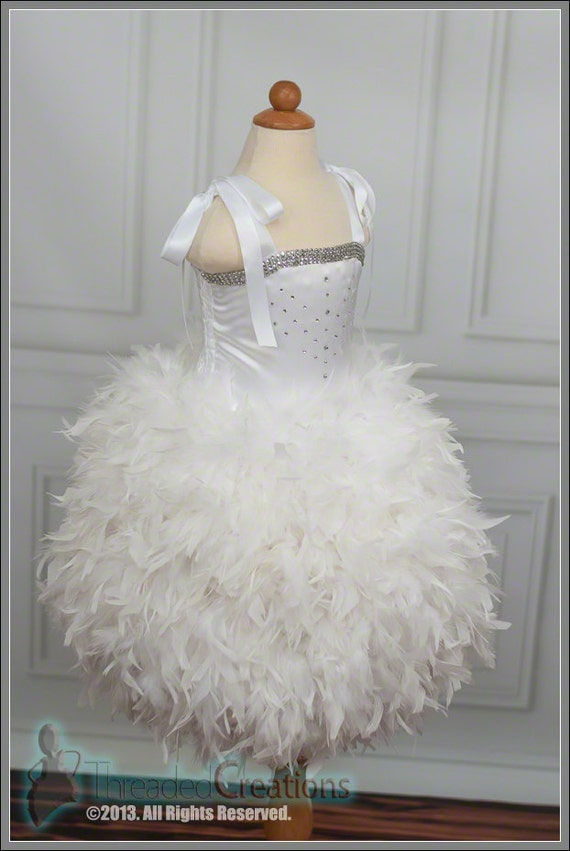Frozen Snow or Ice Princess Costume Dress with White Feather Skirt