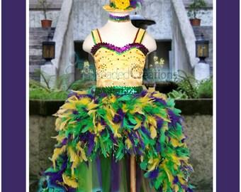 Mardi Gras Costume - Mardi Gras Pageant Costume - Mardi Gras Feather Dress