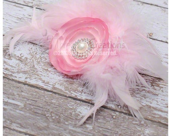 Light Pink Satin Flower and Feather Hairpiece