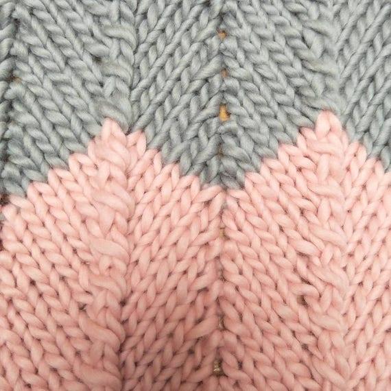 Pattern Chevron Chunky Knit Baby Blanket Etsy