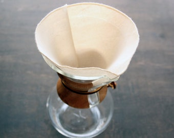 Organic Cotton Reusable Coffee Filters Chemex 6, 8, 10, 12 Cup Style -- Choose Your Quantity