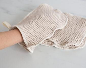 Organic Natural Waffle Weave Cotton Washcloth Mitt