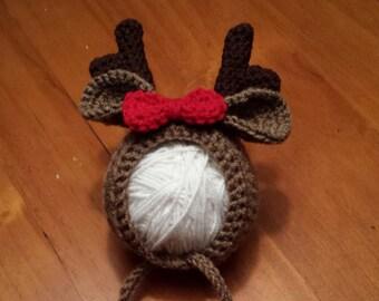 Boy or Girl Baby Reindeer Hat, Reindeer, Reindeer Hat, Infant Reindeer Hat, Crochet Hat, Baby Reindeer, Photography Prop, Christmas
