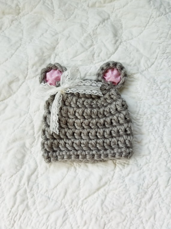 Chunky Newborn Bear Beanie Crochet Baby Hat Baby Girl Bear  0faccaf6f9e6