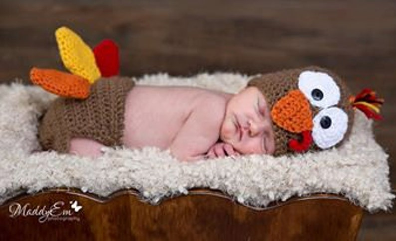 0e03635d6 0 to 3 Month, Turkey Hat and Diaper Cover Set