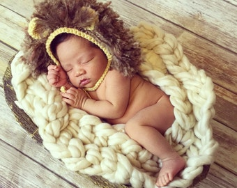 Baby Lion Hat, Crochet Lion Hat, Baby Girl Hat, Baby Boy Hat, Newborn Lion Hat, Infant Lion Hat, Baby Animal Hat