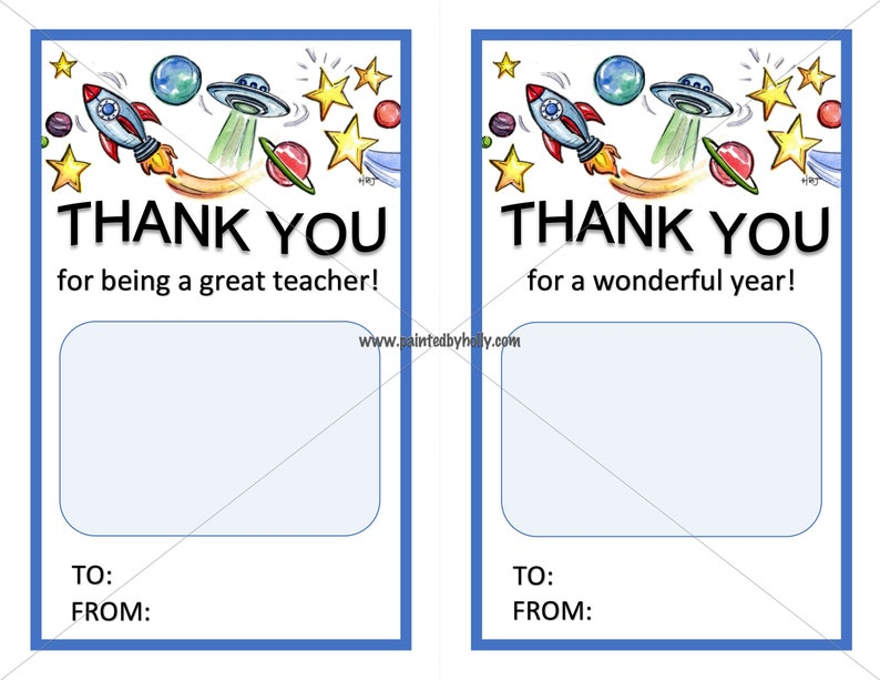 Teacher Appreciation Week Thank You Card // E-Card Outer Space image 0
