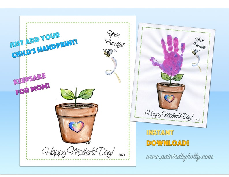 Mother's Day Handprint Art digital download // DIY Flower image 0