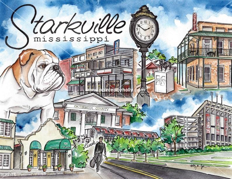 Starkville Mississippi Art Print // Mississippi State Bulldogs Artwork //  MSU Graduation Gift // StarkVegas Watercolor Painting