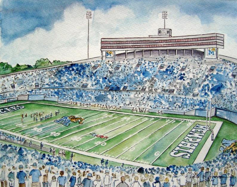 University of Memphis Tigers Football Art Print // Liberty image 0
