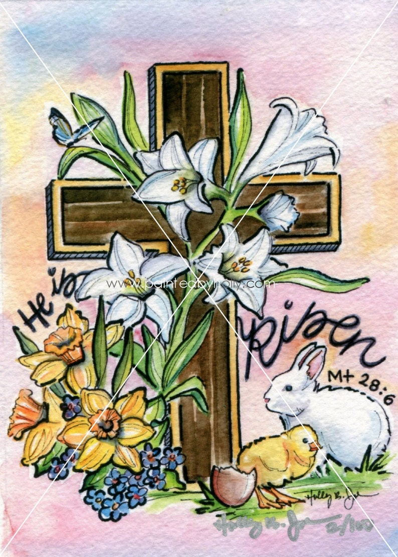 Easter Art Print / Easter Cross Watercolor Painting / He is image 0
