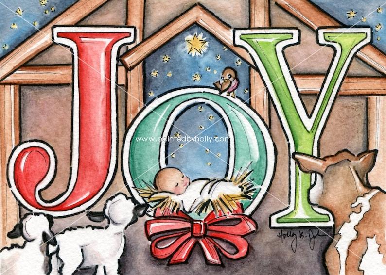 Christmas JOY Nativity Art Print // Christmas Decor with Baby image 0