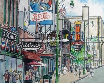 Beale St. Street Memphis, Tennessee TN B.B. King signed Art Print Artwork Painting
