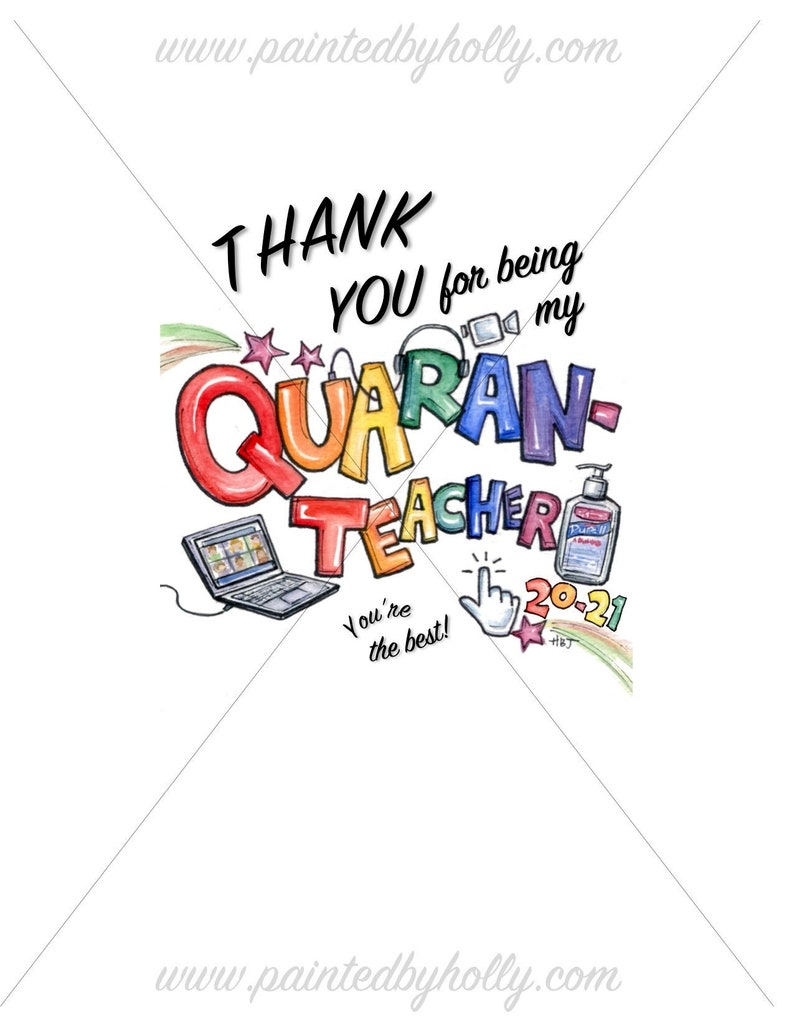 Quarantine Teacher Thank You Sign // Remote Learning Teacher image 0