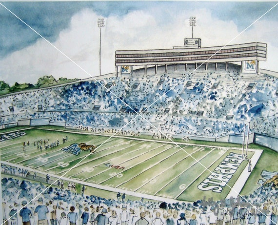 University Of Memphis Tigers Football Art Print Liberty Bowl Stadium Watercolor Painting Memphis Tigers Fan Gift Artwork