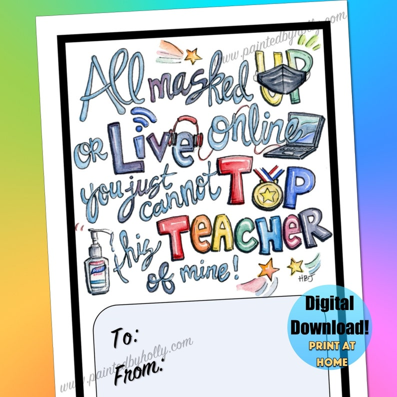 Virtual and In Person Learning Teacher Thank You Card // image 0