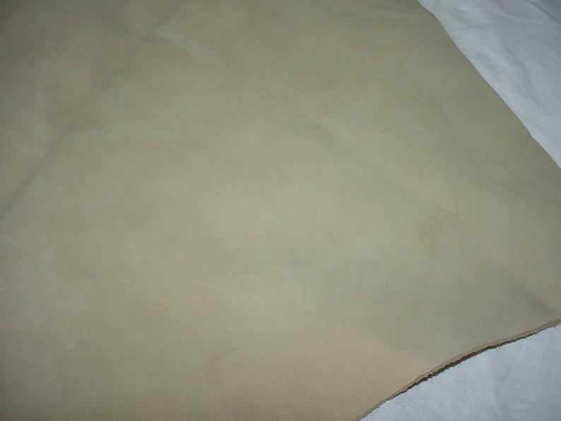 Remnant #5 Medium Thickness Soft Sage Green Nubuck Suede Cowhide Leather Remnant Destash Soft Finish