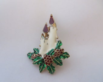 SALE Vintage Candle and Holly Holiday Season Brooch