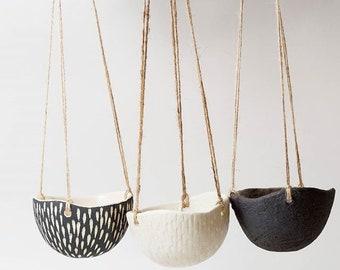 Black and White Pottery Planter Ceramic Planter Hanging Planter ~ Monochrome Ceramics Handmade Plant Pots ~ Modern Planter Hanging Plant Pot