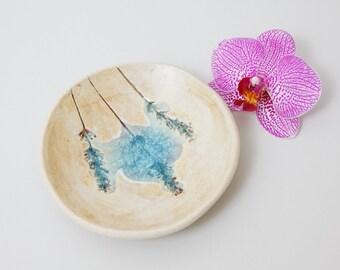 Handmade Ceramic Bowl Lavender Ring Dish ~ Ceramic Ring Dish Light Blue Ceramic Plate Jewelry Dish ~ Ceramic Dish Floral Jewelry Display, UK