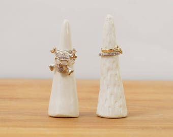 White Ceramic Ring Cone Pottery Ring Holder ~ Modern Jewelry Display Ring Display Ceramic Ring Tree Engagement Ring Holder Jewellery Display