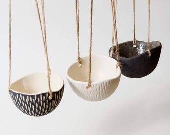 Ceramic Hanging Planter White Ceramic Planter~Indoor Plant Pot Hanging Ceramic Planter Modern Hanging Planter Indoor Planter White Plant Pot