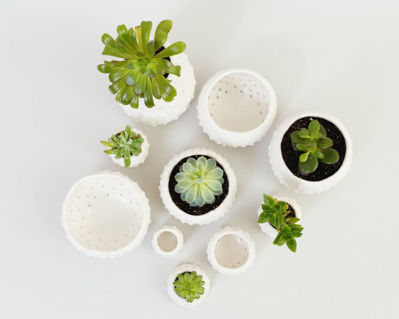 Modern Ceramic Planters Small Mini Plant Pots Handmade White Etsy