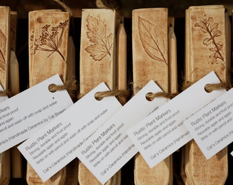 Ceramic Plant Labels Herb Garden Stakes ~ Plant Markers Reusable Labels Ceramic Gift Idea ~ Ceramic Herb Markers Rustic Garden Markers UK