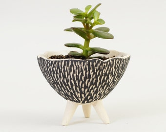 Black and White Pottery Planter ~ Textured Ceramics Ceramic Plant Pot Modern Planter Ceramic Planter Cactus Planter~Handmade Ceramic Bowl UK