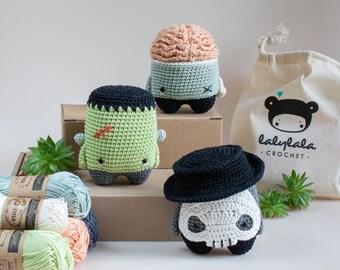 lalylala HALLOWEEN crochet kit for horror fans : set of 3 amigurumi Frankenstein Monster, Zombie, Skull, spooky DIY craft project