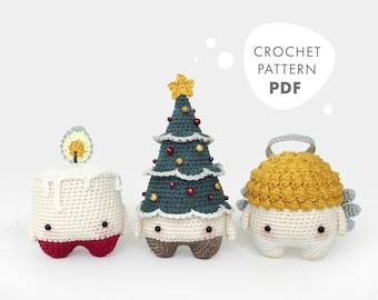 4 seasons: CHRISTMAS Xmas (candle, christmas tree, angel) • lalylala crochet pattern / amigurumi