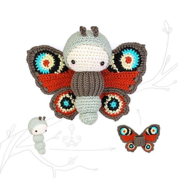 Schmetterling häkeln // mit Herz // Amigurumi | 570x570