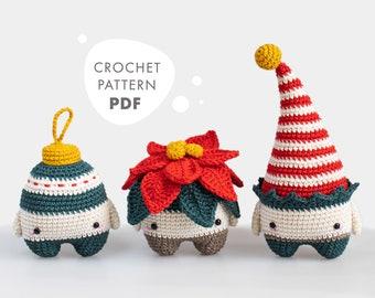 lalylala Crochet Pattern X-Mas Vol 2, Poinsettia, Christmas Elf, Bauble / Ornament, Amigurumi, festive seasonal Decorations 4 seasons series