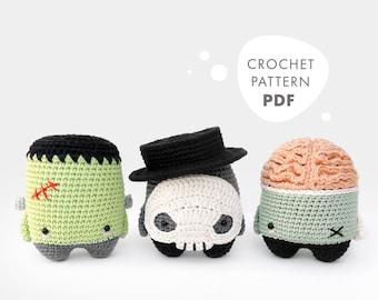 4 seasons: HALLOWEEN (Frankenstein, Skull, Zombie) • lalylala crochet pattern / amigurumi