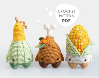 lalylala Crochet Pattern THANKSGIVING, Gourd, Turkey Drumstick and Corn Amigurumi food, cute autumn / fall decorations