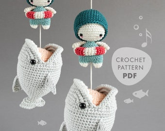 Crochet Pattern BIG FISH . lalylala Amigurumi Shark with Jaws, Musical Pull Toy for Ocean Lovers, Sea Creature, Underwater Theme, maritime