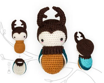 crochet pattern lalylala STAG BEETLE •  amigurumi larva plus interchangeable beetle wing set