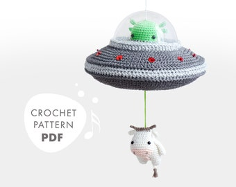 Flying Saucer Crochet Pattern, Musical Pull Toy for Sci-Fi Fans, lalylala amigurumi Alien Cow UFO, Space Theme
