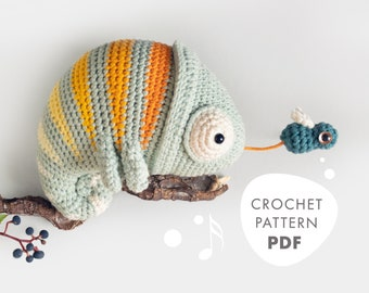 Crochet Pattern CHAMELEON Conrad, Musical Toy for little Jungle Kings, lalylala amigurumi, safari theme