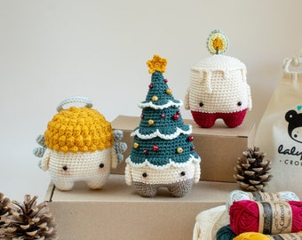 CHRISTMAS craft kit, set of 3 lalylala crochet toys : Christmas Tree, Candle, Angel, DIY amigurumi material pack for festive fun decorations